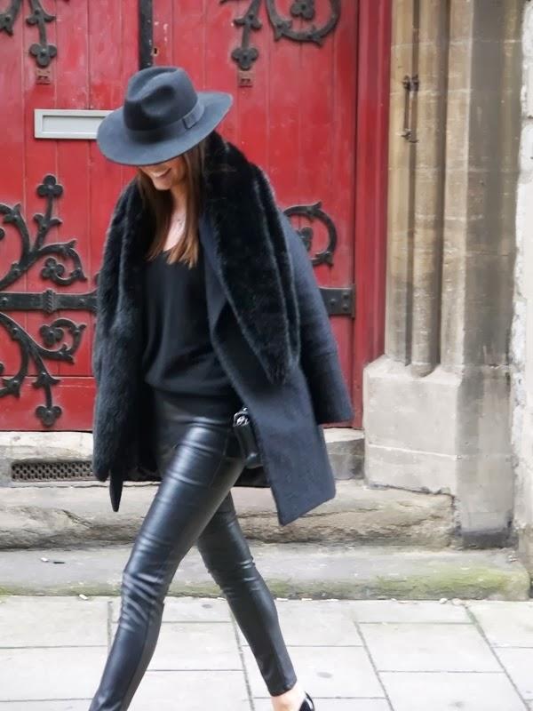 Fedora, Coat, Chanel Handbag, Leather Leggings, Mayfair