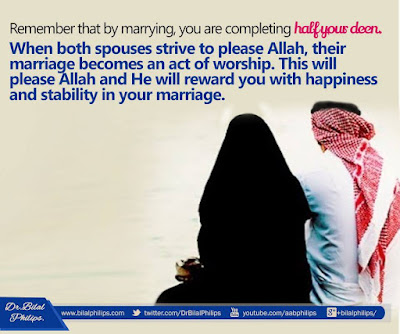 Marrying you are completing half your deen