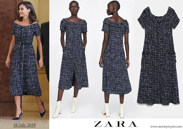 Queen Letizia wore Zara tweed dress with gem buttons