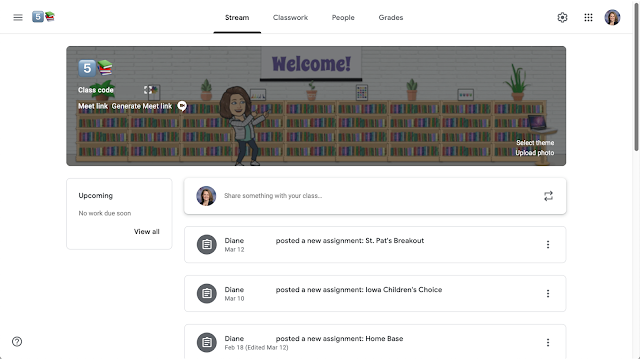 Bitmoji library with bookshelves, plants, screen, and teacher