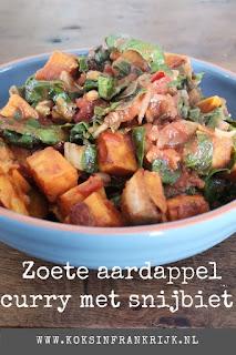 Zoete aardappelcurry met snijbiet - lekker, makkelijk & Vega(n) recept