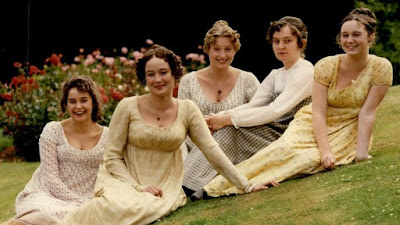 A photo of all 5 Bennet sisters from the 1995 Pride and Prejudice. L-R: Lydia, Lizzie, Jane, Mary, Kitty.