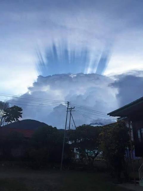 fenomena sinaran awan biru di sabah