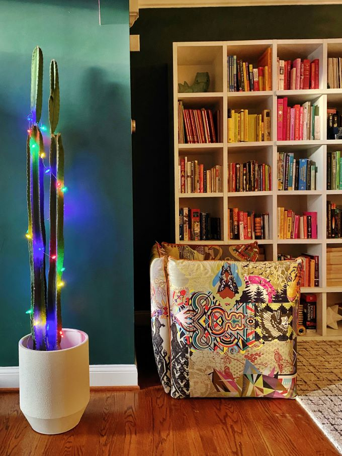 Fun Christmas Idea For Plants is To Wrap Them With Christmas Lights