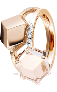 Brilliant Luxury♦Paolo Costagli 18ct White Topaz Rose Gold Brillante® Valentina Ring and Stackable 18ct Rose Gold 9mm Ring