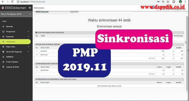 Cara Melakukan Sinkronisasi di Aplikasi PMP Versi 2019.11 (Sinkron Aplikasi EDS Dikdasmen Offline)