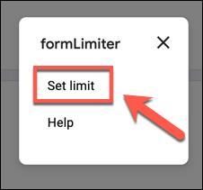 """انقر فوق """"تعيين الحد"""" في قائمة """"formLimiter""""."""