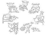 דף צביעה פעולות היום יום לילדים