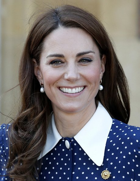 Kate Middleton Alessandra Rich pleated polka dot silk midi dress, Annoushka pearl and Kiki diamond hoop earrings