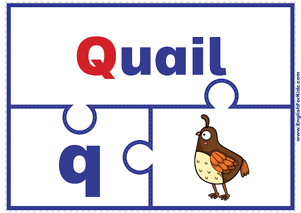 Letter Q matching puzzle - printable English alphabet learning activity