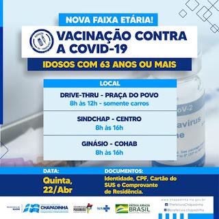 Prefeitura de Chapadinha-MA retoma vacinação da primeira dose em idosos com 63 anos ou mais  nesta quinta (22)