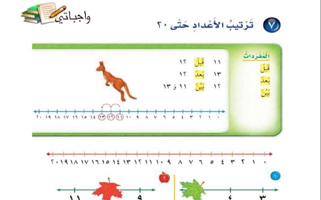 حل درس ترتيب الأعداد حتى 20 الرياضيات للصف الأول ابتدائي