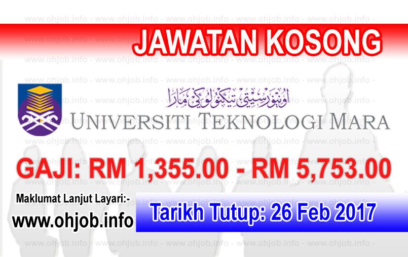 Jawatan Kerja Kosong UiTM - Universiti Teknologi MARA logo www.ohjob.info februari 2017