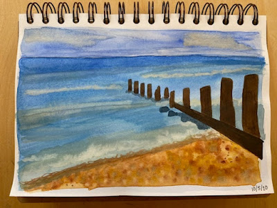 Simple watercolour beach scene painting