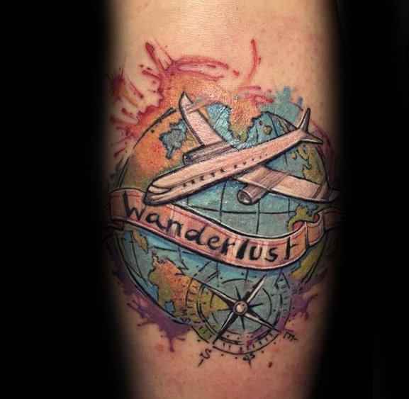 Globe Plane Continents Watercolor Quotes Quotetattoo Be674fe2