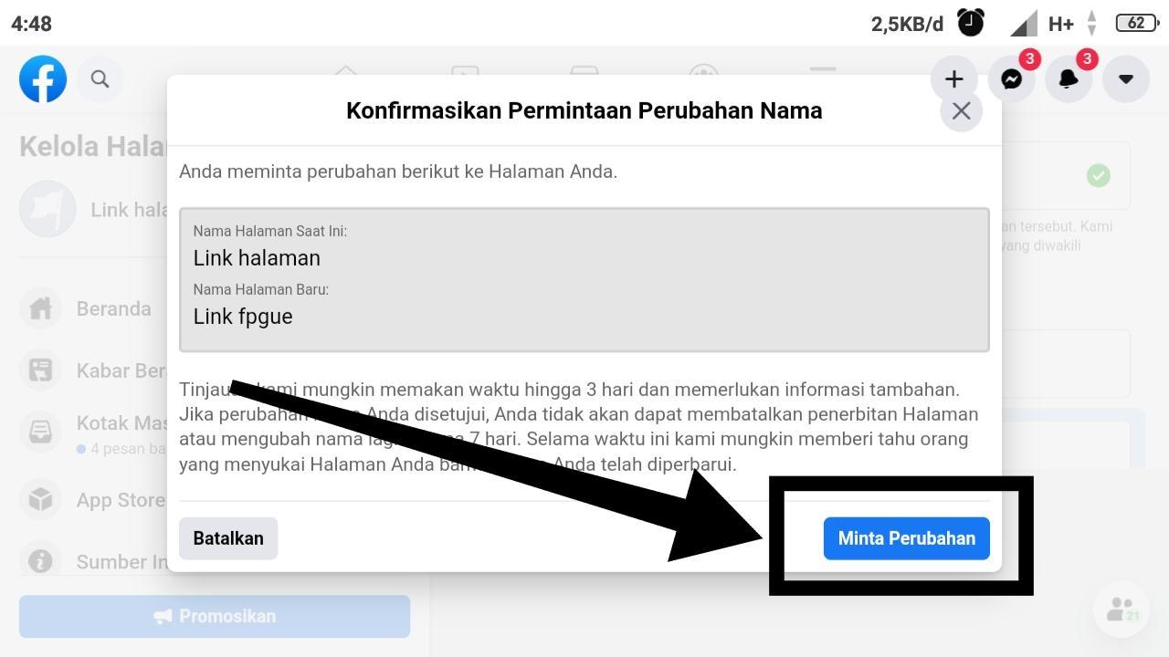 Contoh nama pengguna Halaman Facebook