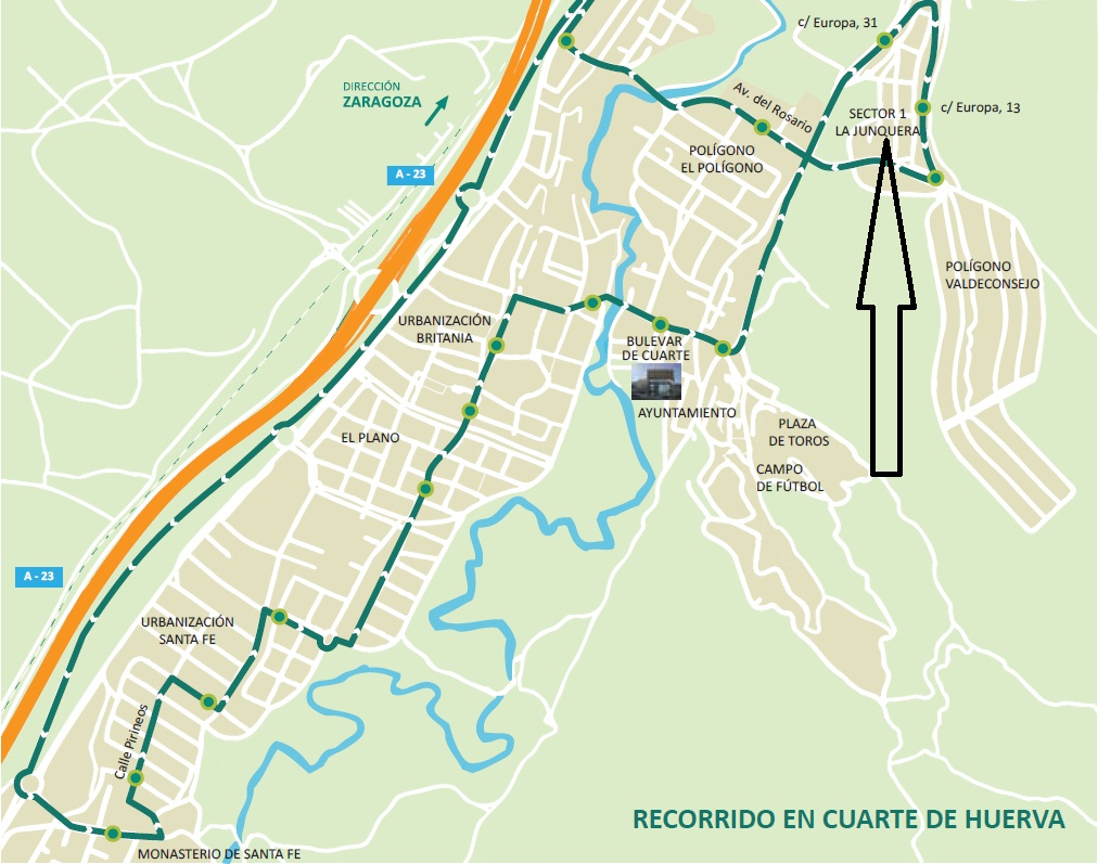 TRANSPORTE PÚBLICO EN ZARAGOZA: NUEVAS PARADAS EN CUARTE DE ...