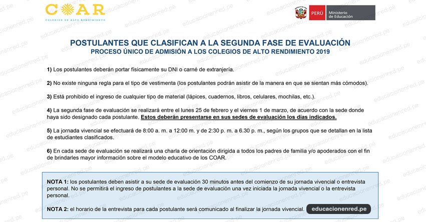 COAR 2019: Precisiones para Postulantes que Clasifican a la Segunda Fase de Evaluación (Del 25 Febrero al 1 Marzo) Colegios De Alto Rendimiento - www.minedu.gob.pe