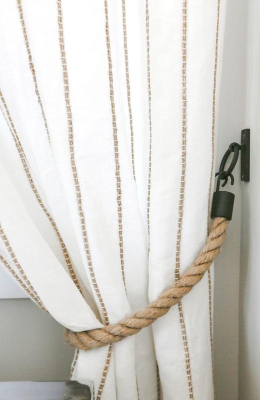 Rope Tie Backs Linen Curtains Bedroom Idea