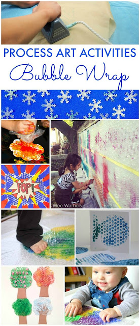 BUBBLE WRAP process art activities for kids. A fun art technique for children of all ages from toddlers and preschoolers to older kids.