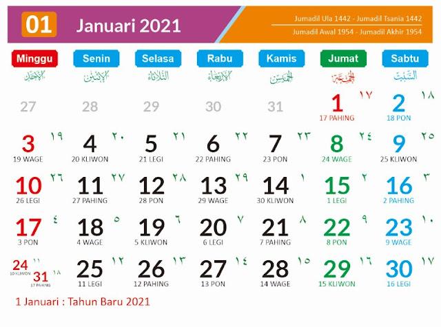 Kalender 2021 Masehi Januari
