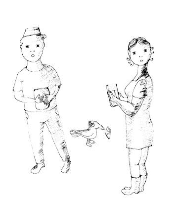 Desenho preto e branco de figura masculina de chapéu com livro, figura feminina com livro e passarinho com livro.