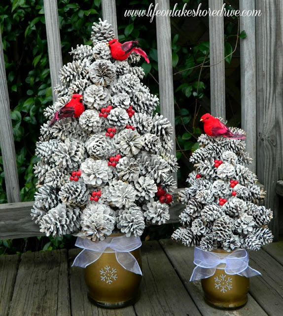 diy winter pine cone tree