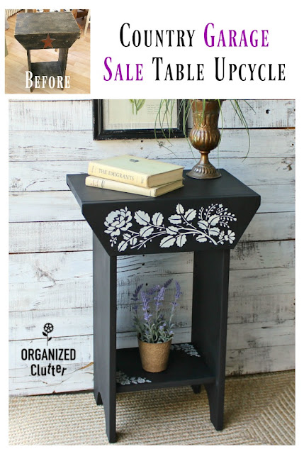 A Primitive Country Garage Sale Table Makeover #stencil #upcycle #garagesalefinds #furnituretransformation #furnitureupdate
