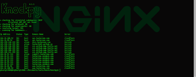 Knock Subdomain Scan Tested In Backbox GNU/Linux