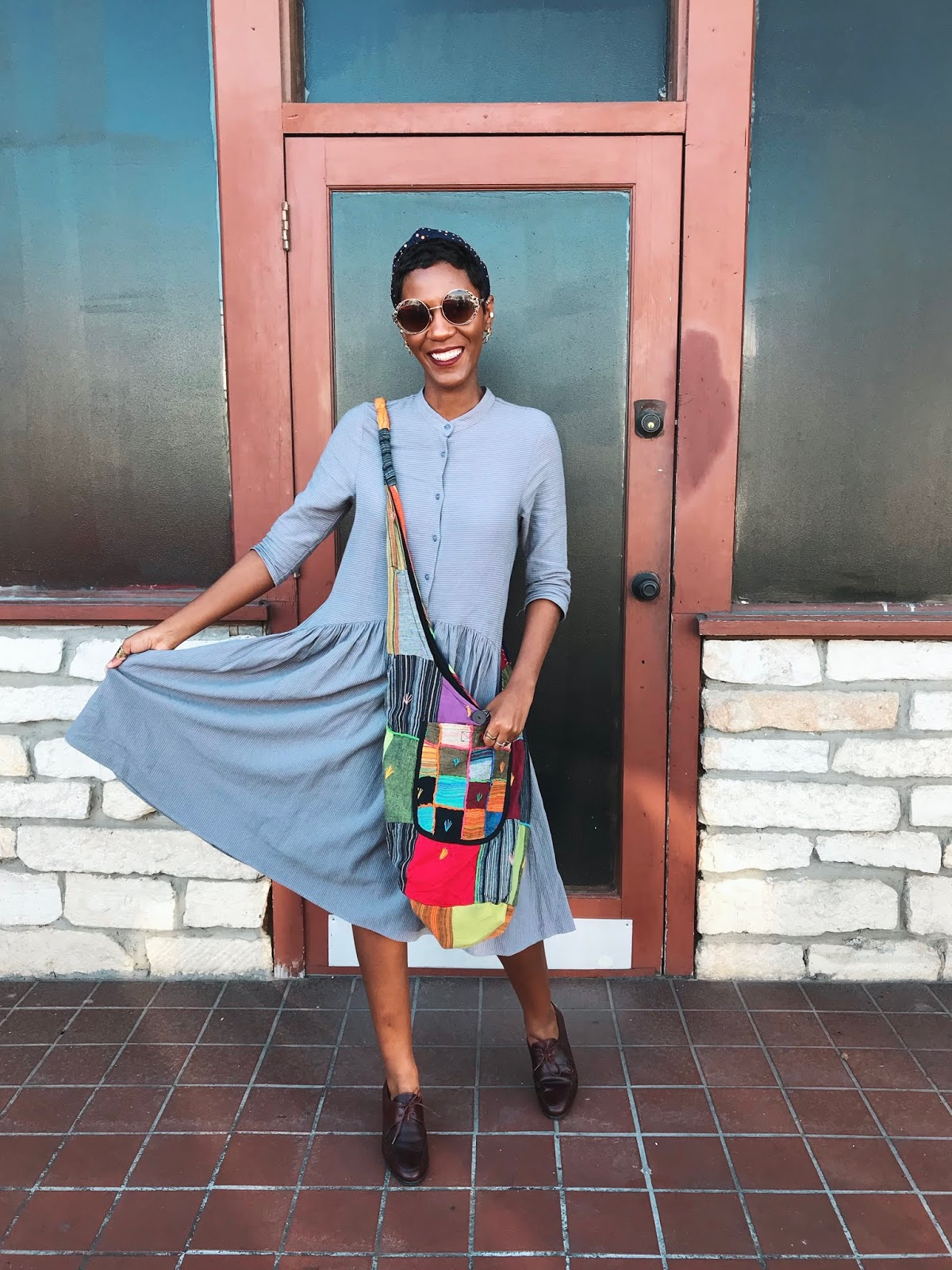 How to style a patchwork handbag from the thrift store.