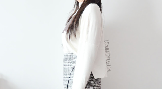 "A cute-chic ulzzang-inspired monochrome autumn/winter outfit, featuring SheIn's printed mock-neck dip hem ""Destiny"" sweater and asymmetric houndstooth gridded skirt."