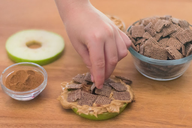 How to Make Chocolate Life Cereal and Peanut Butter Apple Sandwiches