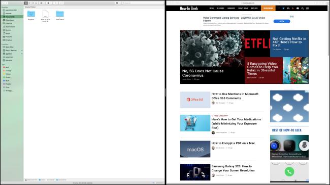 اختيار نافذة مصاحبة في Split View في macOS