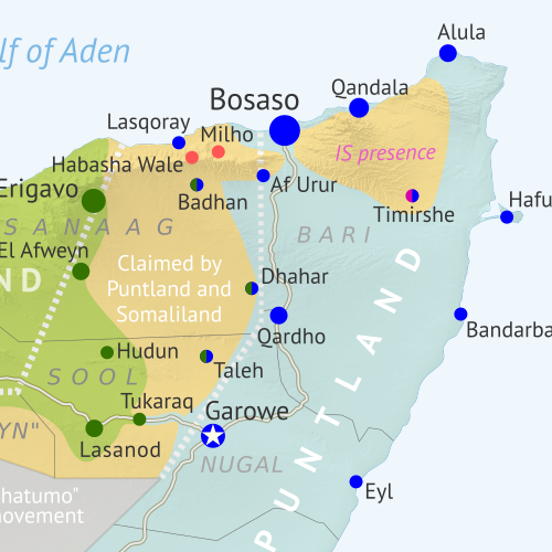 Who controls Somalia? Map (February 2021). With states, regions, and territorial control. Best Somalia control map online, thoroughly researched, detailed but concise. Shows territorial control by Federal Government of Somalia (FGS), Al Shabaab, so-called Islamic State (ISIS/ISIL), separatist Somaliland, autonomous state Puntland, and boundaries of additional federal member states Galmudug, Jubaland, South West, and Hirshabelle. Now labels state capitals and disputed boundaries between Somaliland and Puntland, as well as key towns from recent news such as Milho (Milxo), Ba'adweyne, Bur Heybe, Gobo Kibir, and more. Updated to February 24, 2021. Colorblind accessible.
