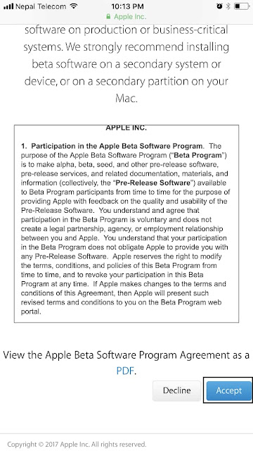 To begin downloading iOS 11 Public Beta on your device, you need to Sign Up for iOS 11 Public Beta Testing Program first which is as below;