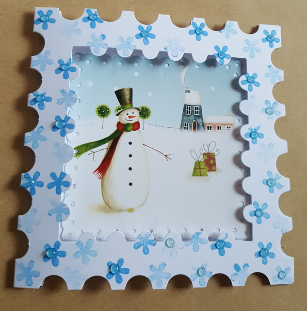 """Snowman  scene 6"""" stamp shaped Christmas Card"""