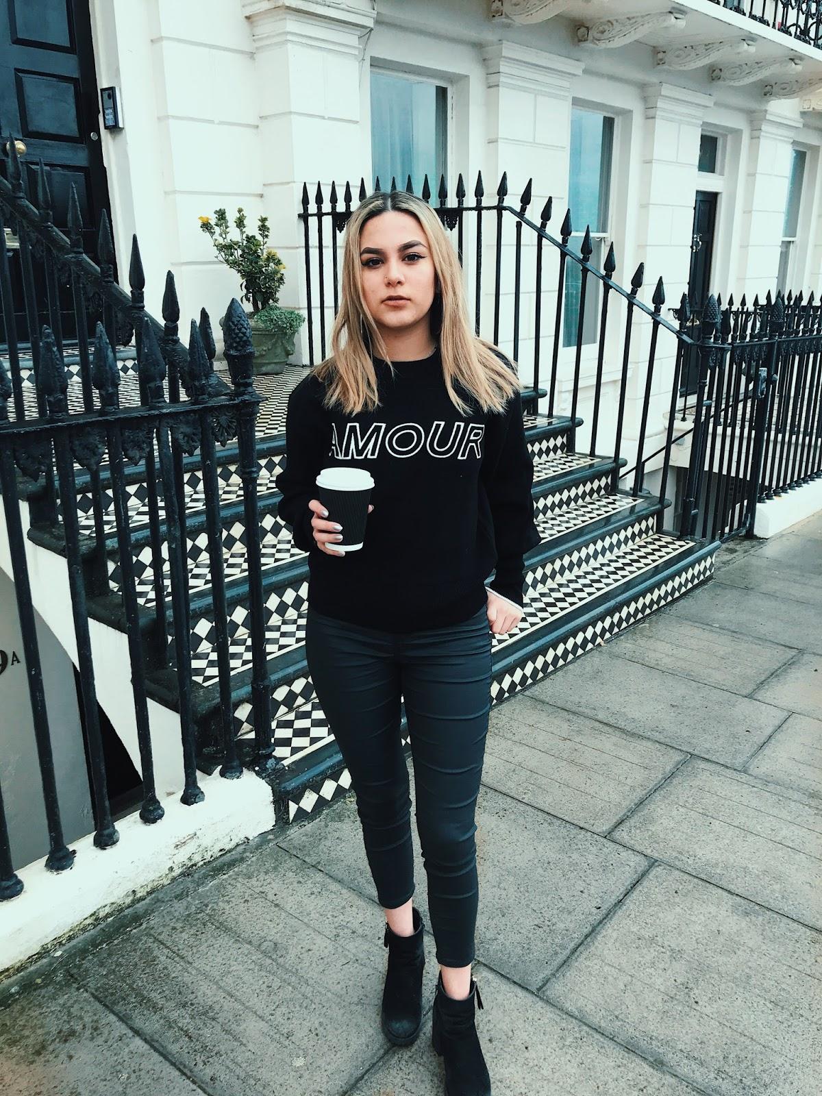 yasminstefanie street style topshop amour slogan jumper coated jeans