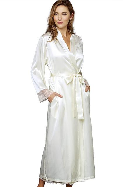 White Long Silk Robes For Women