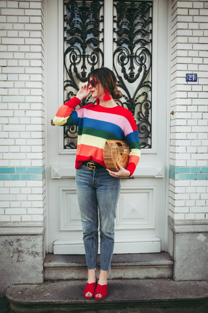Wedgie fit levi's, rainbow sweater, red mules