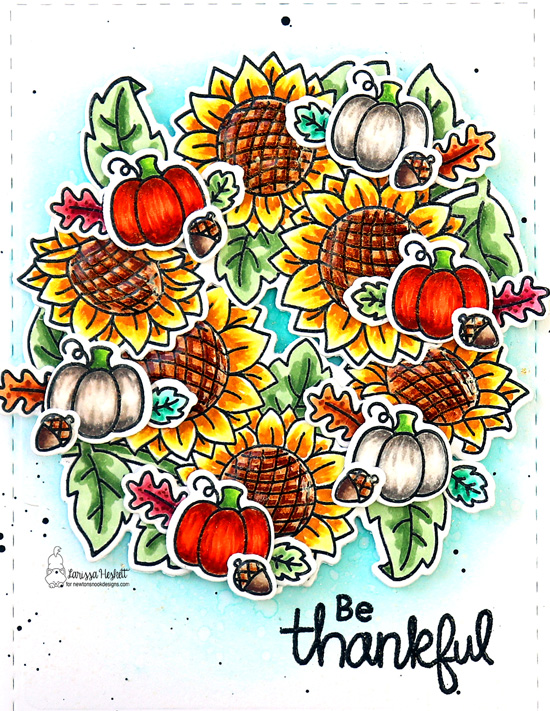 Be Thankful Card by Larissa | Sunflower Days, Autumn Newton and Paw-tumn Newton Stamp Sets by Newton's Nook Designs #newtonsnook