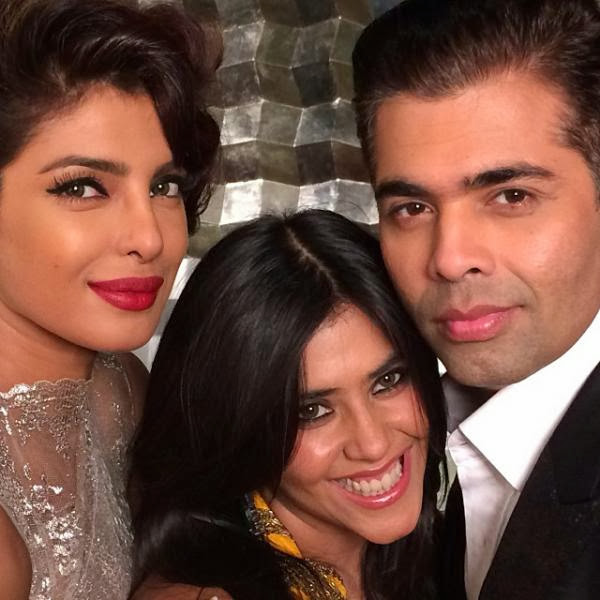 Priyanka Chopra, Ekta Kapoor & Karan Johar at a magazine shoot