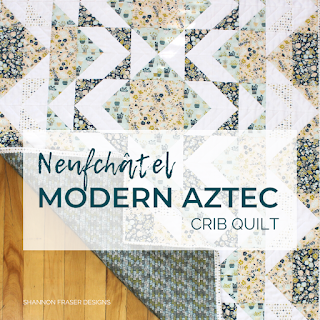 Modern Aztec Crib Quilt in Neufchatel Collection | Shannon Fraser Designs