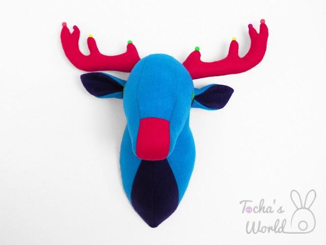 acrylic, Czech beads, deer, eco felt, fairy-tale, fuchsia, neon, polyester, stag, turquoise, vegan, antlers