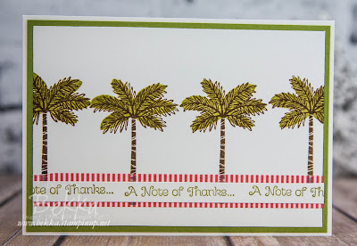 Palm Tree Thank You Card Featuring The Totally Trees Stamp Set From Stampin' Up! UK  Buy Yours Here.