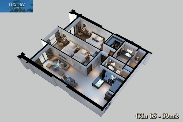 Mặt bằng căn 05 dự án Luxury Apartment Đà Nẵng