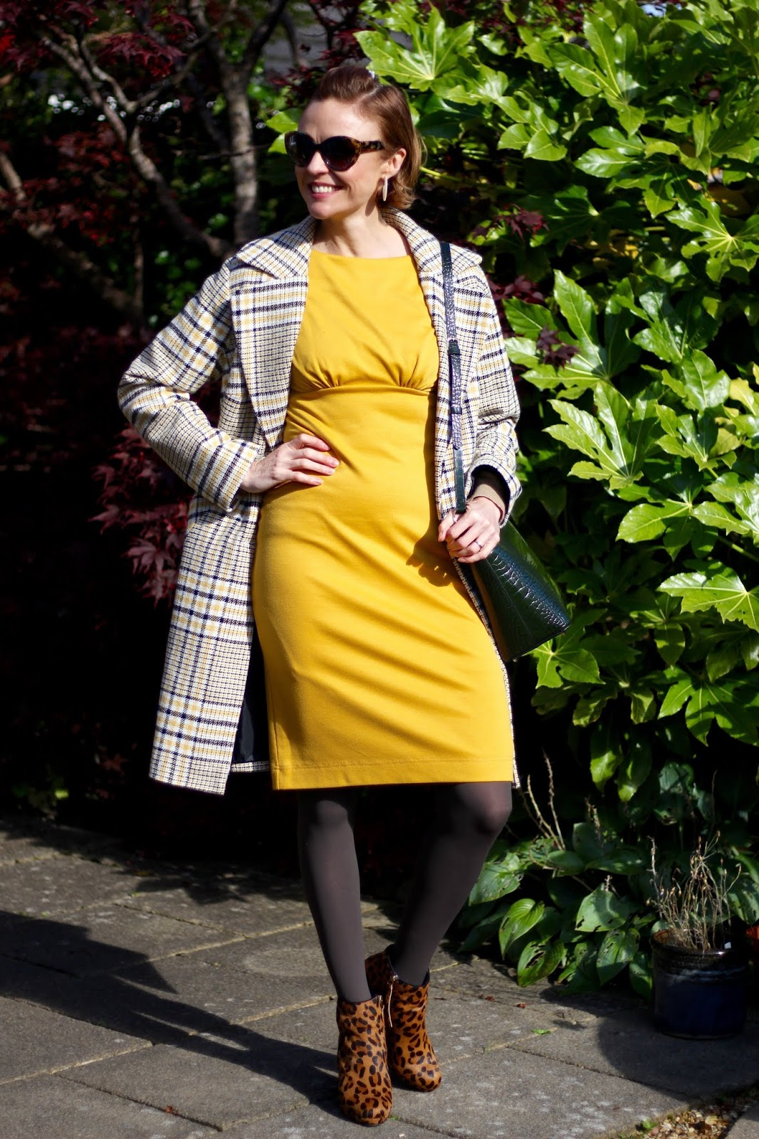 Mustard shift dress, leopard boots & Checked coat | Autumn Outfit