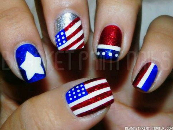 4th of july patriotic nail design easy fourth of july nail art patriotic 4th of july nail art design 2017 prinsesfo Gallery