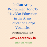 Indian Army Recruitment for 635 Havildar Education in the Army Education Corps Vacancies
