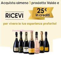 Promozione Valdo : ricevi 25€ di crediti esperienze per ogni prodotto acquistato