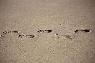 Noah walking in Maya's footsteps